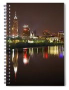 Indianapolis Skyline At Night Indy Downtown Color Panorama Spiral Notebook
