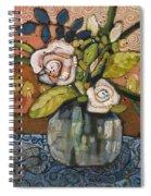 Indigo And Orange Floral Spiral Notebook