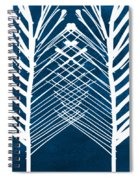 Indigo And White Leaves- Abstract Art Spiral Notebook