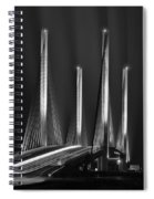 Inlet Bridge Light Trails In Black And White Spiral Notebook