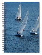 Into The Wind - Crisp White Sails On Blue Spiral Notebook