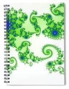 Intricate Green Blue Fractal Based On Julia Set Spiral Notebook