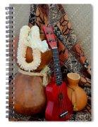 Ipu Heke And Red Ukulele With White Satin Lei Spiral Notebook