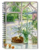 Irises And Sleeping Cat Spiral Notebook
