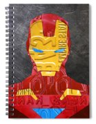 Iron Man Superhero Vintage Recycled License Plate Art Portrait Spiral Notebook