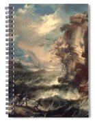 Italian Seascape With Rocks And Figures Spiral Notebook