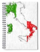 Italy Painted Flag Map Spiral Notebook
