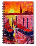 Italy - Venice Gondolas - Abstract Fiery Sunrise  Spiral Notebook