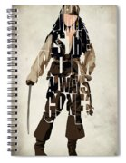 Jack Sparrow Inspired Pirates Of The Caribbean Typographic Poster Spiral Notebook