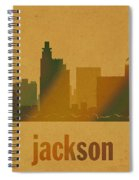 Jackson Mississippi City Skyline Watercolor On Parchment Spiral Notebook