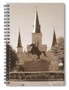 Jackson Square Statue In Sepia Spiral Notebook