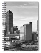 Jacksonville Skyline Morning Day Black And White Bw Panorama Florida Spiral Notebook