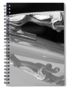Jaguar Car Hood Ornament Reflection Bw Spiral Notebook
