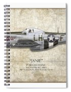 Janie P-51d Mustang - Map Background Spiral Notebook