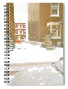 January Winter Street Winding Snow Covered Staircase Montreal Art Verdun Duplex Painting Cspandau Spiral Notebook