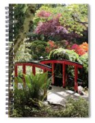 Japanese Garden Bridge With Rhododendrons Spiral Notebook