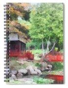 Japanese Garden With Red Bridge Spiral Notebook