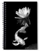 Japanese Koi Fish And Water Lily Flower Black And White Spiral Notebook