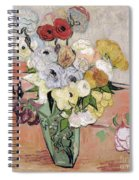 Japanese Vase With Roses And Anemones Spiral Notebook
