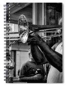 Jazzy Trombone Music-bw Spiral Notebook