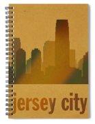 Jersey City New Jersey City Skyline Watercolor On Parchment Spiral Notebook