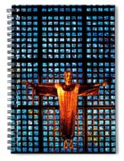 Jesus Sculpture And Blue Glass Background Spiral Notebook