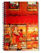 Jewish Culture In Montreal Paintings Of Warshaw's Fruit Store On St.lawrence Street Scene Art  Spiral Notebook