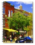 Jos Pappos Furs Street Scene Suburban Shops And Store Fronts Sherbrooke Montreal Carole Spandau Art  Spiral Notebook