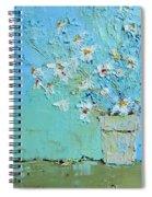 Joyful Daisies, Flowers, Modern Impressionistic Art Palette Knife Oil Painting Spiral Notebook