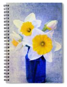 Just Plain Daffy 2 In Blue - Flora - Spring - Daffodil - Narcissus - Jonquil  Spiral Notebook