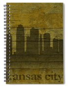Kansas City Missouri City Skyline Silhouette Distressed On Worn Peeling Wood Spiral Notebook