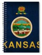 Kansas State Flag Art On Worn Canvas Spiral Notebook
