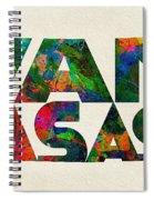 Kansas Typographic Watercolor Map Spiral Notebook