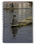 Kashmiri Men Rowing Many Small Wooden Boats In The Waters Of The Dal Lake Spiral Notebook
