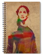 Katniss Everdeen From Hunger Games Jennifer Lawrence Watercolor Portrait On Worn Parchment Spiral Notebook
