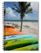 Kayaks On The Beach Spiral Notebook