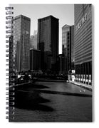 Kayaks On The Chicago River - Black Spiral Notebook