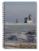 Kewaunee Lighthouse In Winter Spiral Notebook