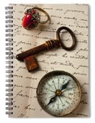 Key Ring And Compass Spiral Notebook