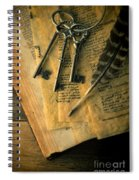 Keys And Quill On Old Papers Spiral Notebook