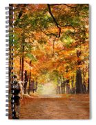 Kid With Backpack Walking In Fall Colors Spiral Notebook