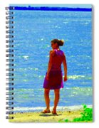 Kids Playing On The Seashore Mom And Little Boys Pointe Claire Montreal Waterscene Carole Spandau Spiral Notebook