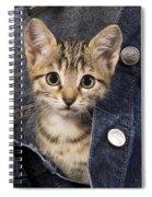 Kitten In Jean Jacket Spiral Notebook