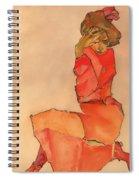 Kneeling Female In Orange-red Dress Spiral Notebook