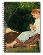 Knitting Girl Watching The Toddler In A Craddle Spiral Notebook
