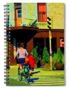 Kusmi Tea And Sandwich Shop St Viateur Corner St Urbain Montreal Summer City Scene  Carole Spandau Spiral Notebook