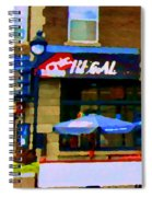 La Chic Regal Pointe St Charles Blue Umbrellas On The Terrace Montreal Pub Scene Carole Spandau Spiral Notebook