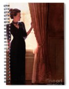 Lady In Black By Window Spiral Notebook