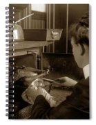 Lady In Early Kitchen Cooking Turkey Dinner 1900 Spiral Notebook