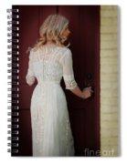Lady In Edwardian Dress Opening A Door Spiral Notebook